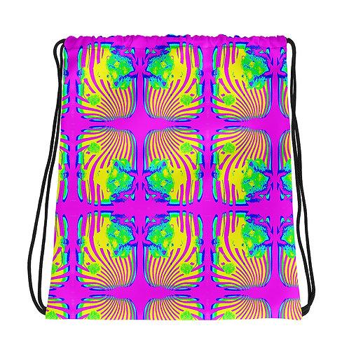 Hippie Chic Drawstring bag Psychedelic Neon Art Flower Power