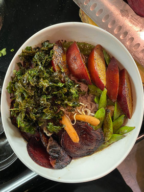 red plum and kale chip ramen with beets.