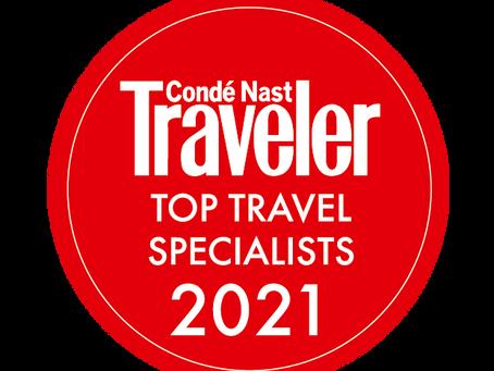 Condé Nast Traveler – Top Travel Specialist 2021