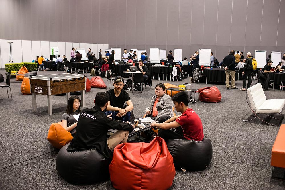People working on a hackathon