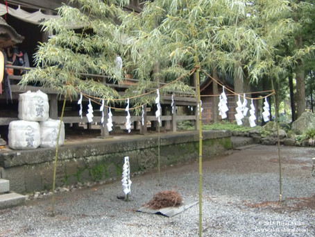 Installation of sacred site with bamboo
