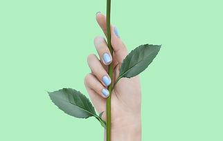 Blaue Nägel auf Grün