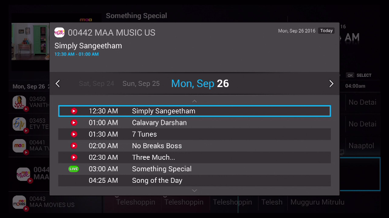 Single Channel EPG