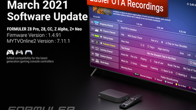 March 2021 Formuler Software Update