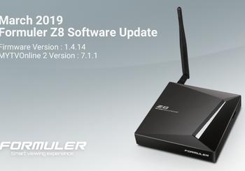 March 2019 Formuler Z8 Software Update