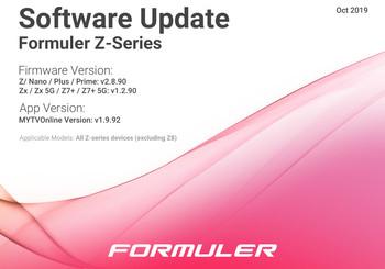 October 2019 Formuler Z-Series Software Update