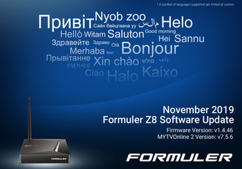 November 2019 Formuler Z8 Software Update
