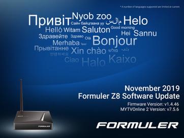 November 2019 Formuler Z8 Software Update