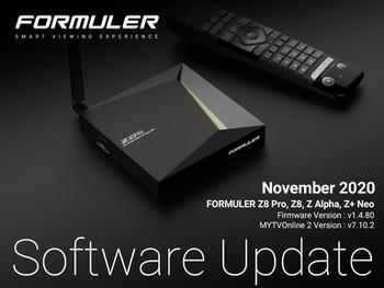 November 2020 Formuler Software Update