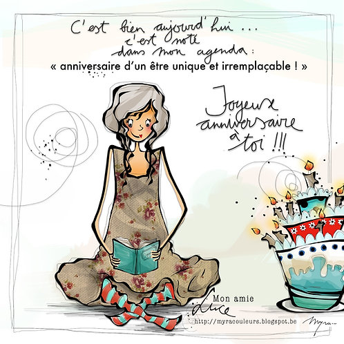 Cartes Illustrées de Myra Vienne (anniversaire)
