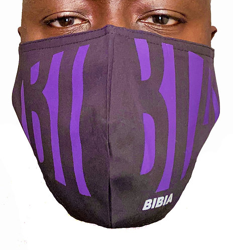 BIBIA Purple Savage Face Mask with couture brand print.
