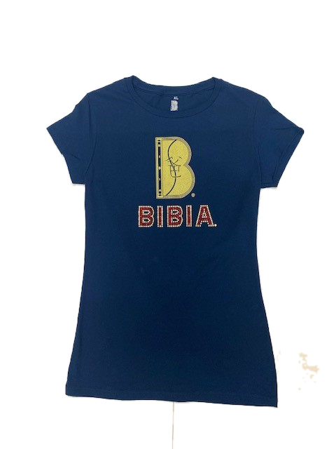 BIBIA Brand Rhinestones Metallic B logo T-shirt