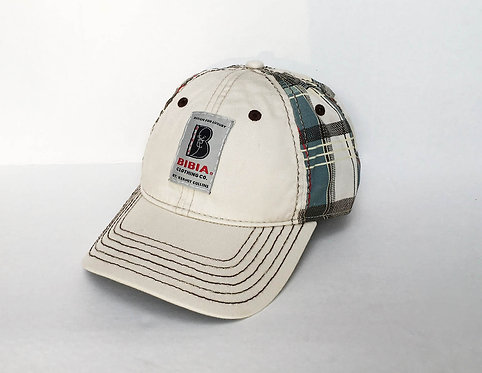 BIBIA curved Plaided Hat with brand label