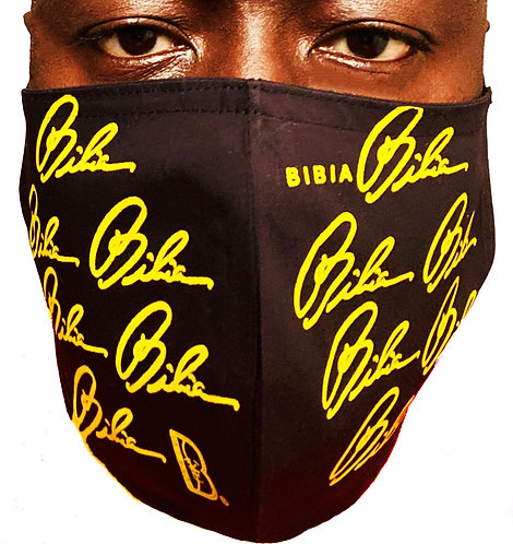 BIBIA Brand yellow signatures printed all over mask