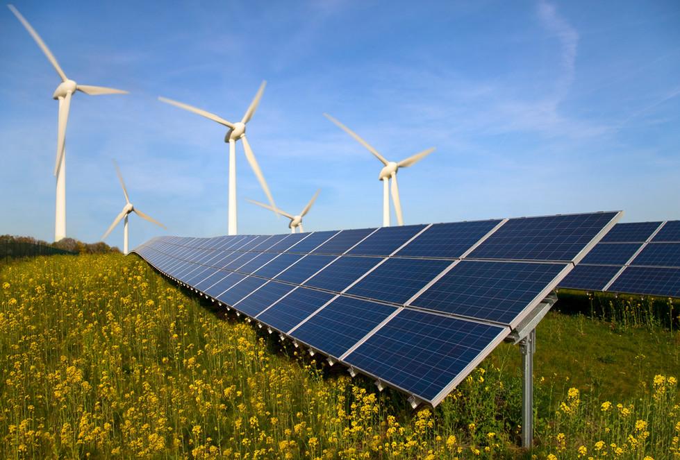 Duurzame energie - Zonnepanelen - Windturbines - in weilanden op hoogte met Biologische Agricultuur & wilde kruiden/ bloemenweides