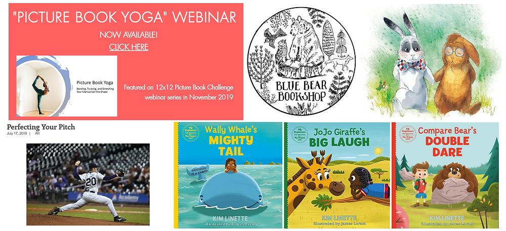 Picture Book Yoga webinar, Blue Bear Bookshop, Marlon Bundo, Perfecting Your Pitch, Self-Publishing client covers