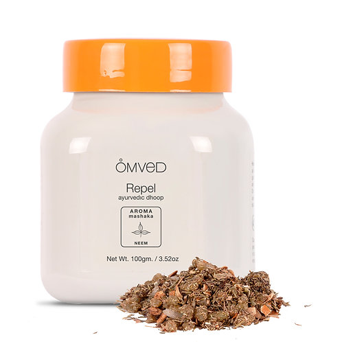 Omved REPEL- Mashaka Ayurvedic Neem Guggal Dhoop Powder/Bakhoor - 100% Natural &
