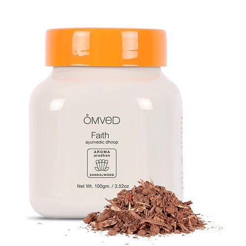 Omved FAITH - Aradhan Ayurvedic Sandalwood Dhoop Powder/Bakhoor - 100% Natural &