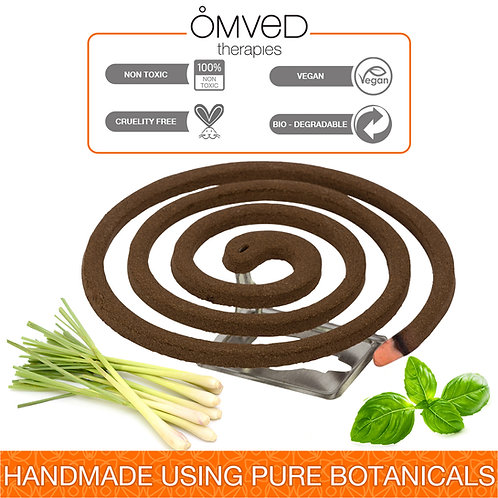 Omved Repel Ayurvedic Mosquito Coil -100% Natural, Chemical Free, Non-Toxic -8 C