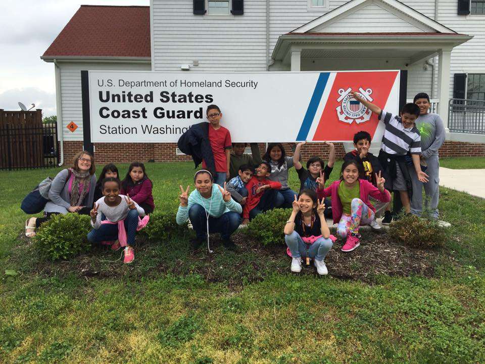 WHS USCG kids at sign