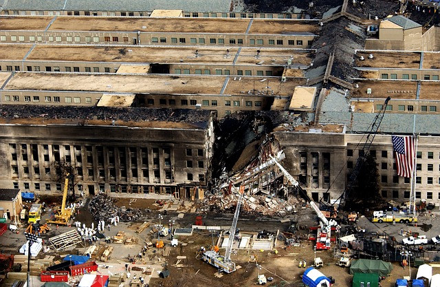 The Pentagon in the days after the 9/11/01 terror attacks.