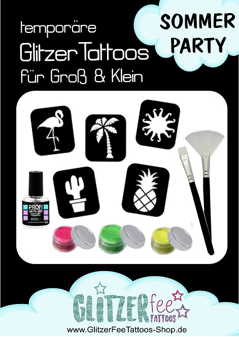 17tlg. Glitzertattoo Set HALLO SOMMER