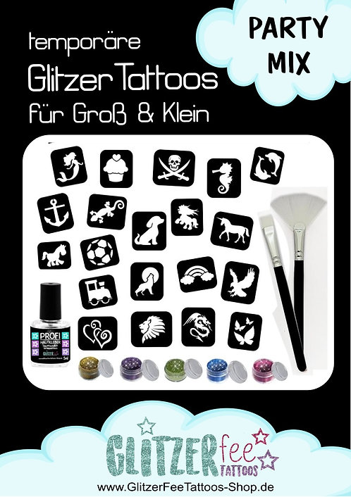 29tlg. Glitzertattoo Set PARTY