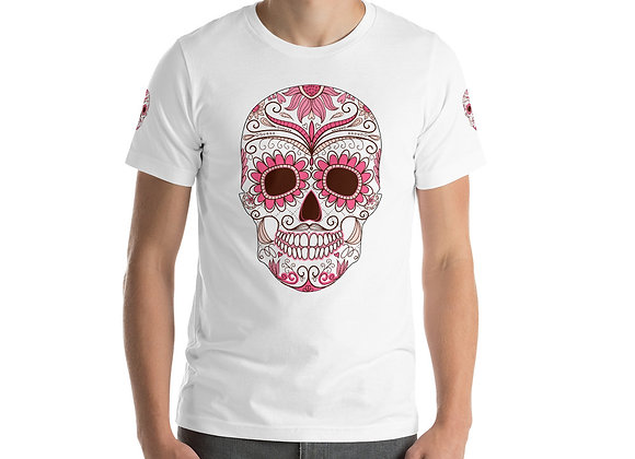 T-shirt unisexe à manches courtes pink skull
