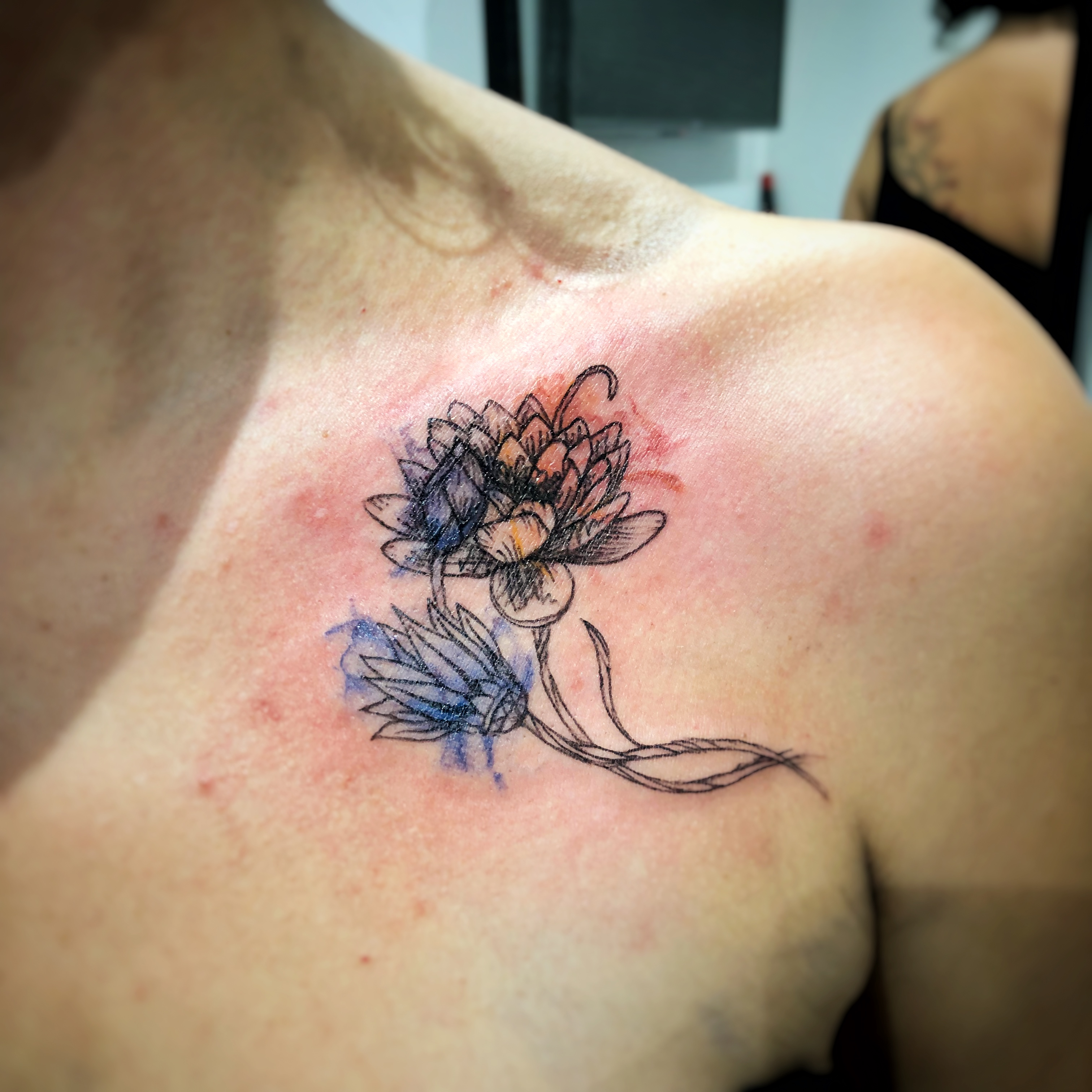 TATOUAGE LOTUS AQUARELLE