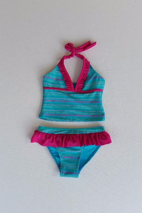 Blue and Pink Striped Tankini