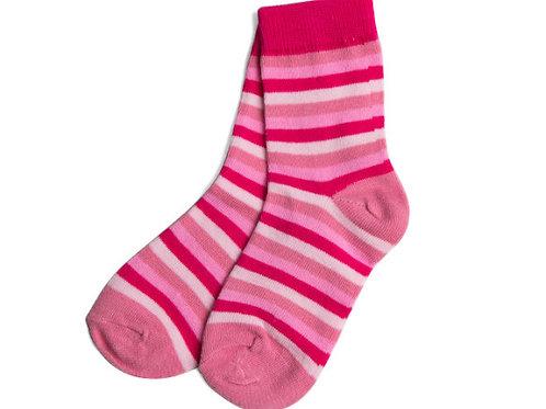Girl's Pink Striped Socks