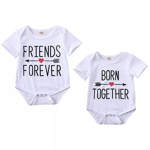 Born Together Friends Forever Twin Onesie Set