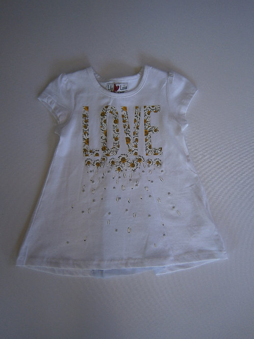 Girl's A Line 'LOVE' Top – White