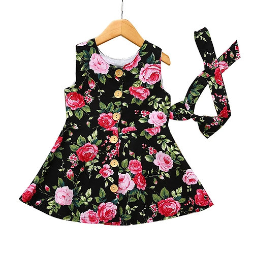 ROSES Button Up Dress and Headband set
