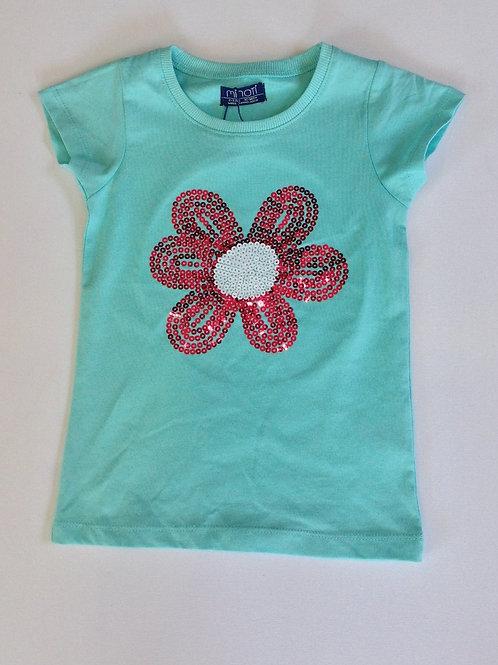 Flower Sequin T-Shirt – Aqua