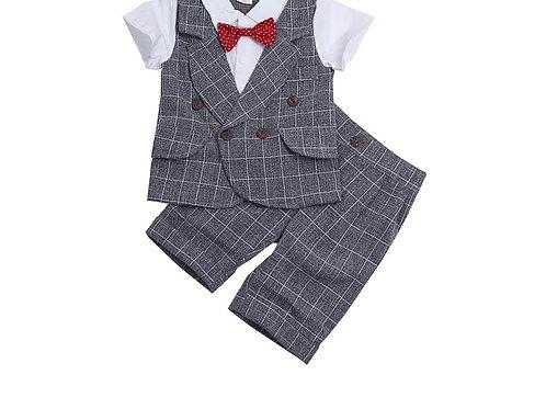 Grey Checked Boys Formal Set