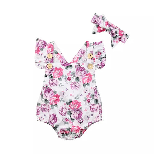 Purple Flowers Romper with Headband