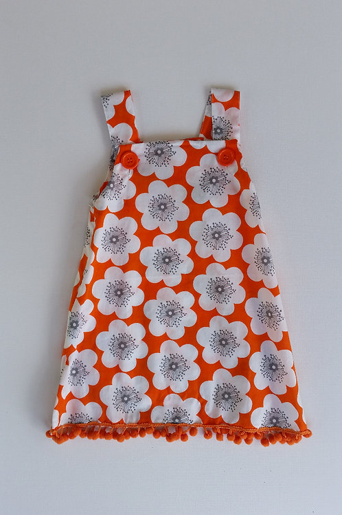 Orange and White Flower Dress
