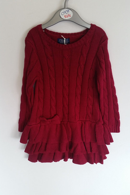 Cable Knit Dress - Maroon