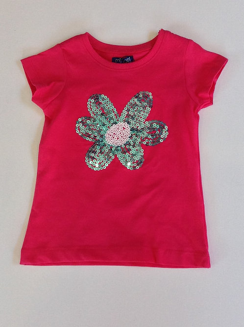 Flower Sequin T-Shirt – Hot Pink