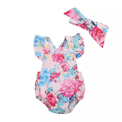 Blue and Pink Floral Romper