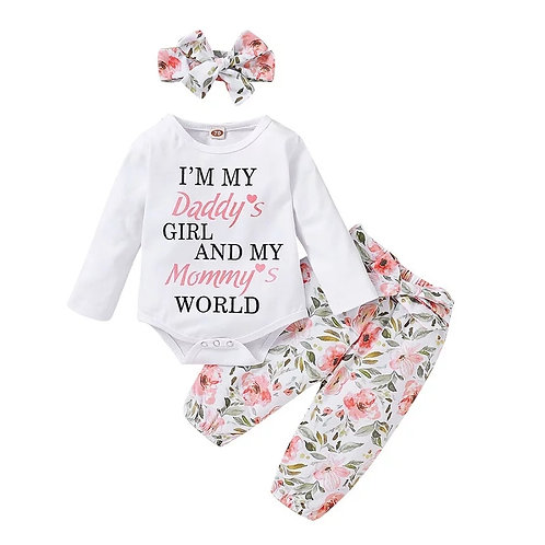 Daddy's girl and mummy's  world long sleeve 3 piece  set