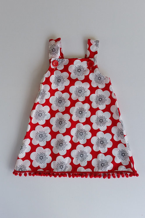 Red and White Flower Dress