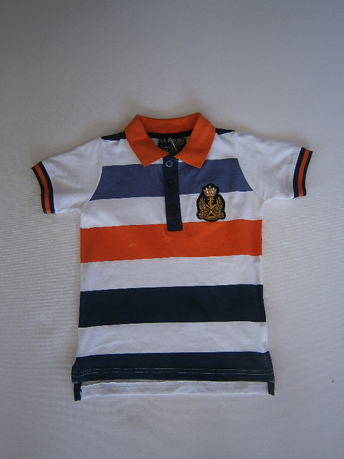 Boy's Striped Polo Shirt - White
