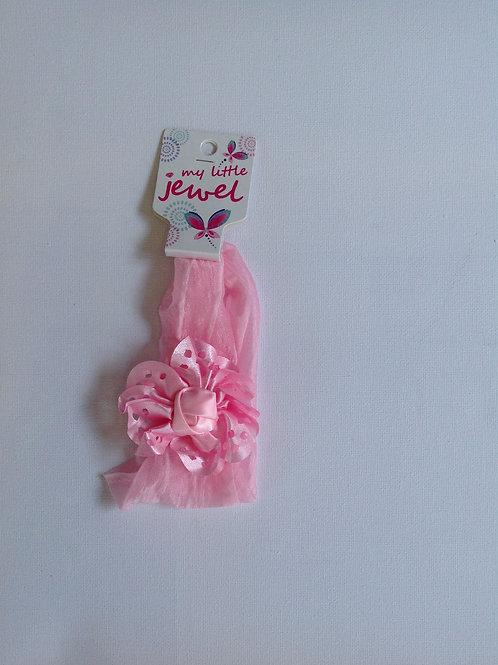 Pink Silk Flower Stretch Headband