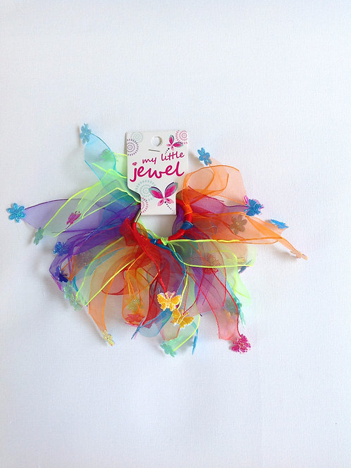 Rainbow Elastic Windmill with Flowers and Butterfl