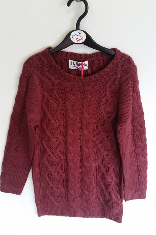 Cable Knit Dress - Plum