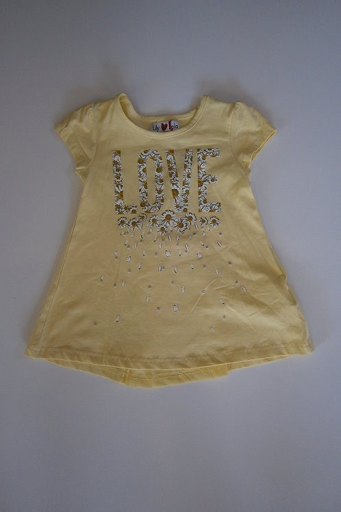 Girl's A Line 'LOVE' Top – Yellow