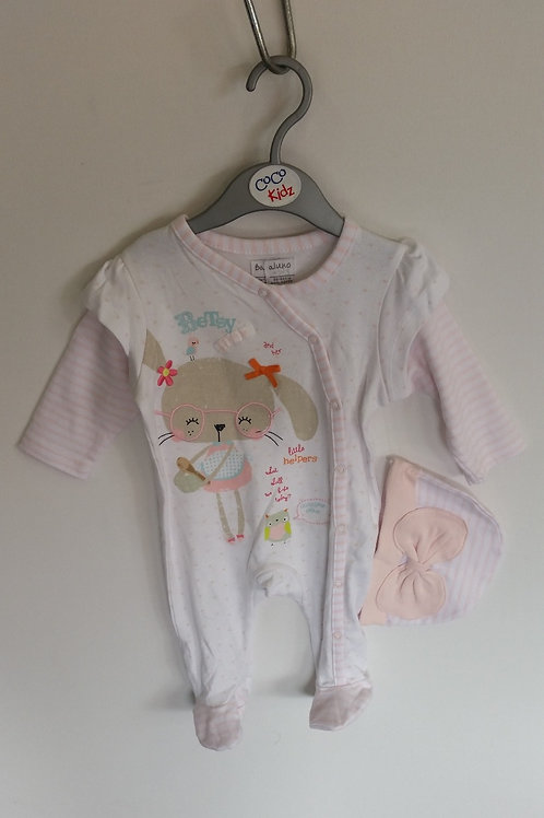 Girl's Sleepsuit and Hat Set