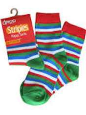 Green, Red and Blue Striped Socks